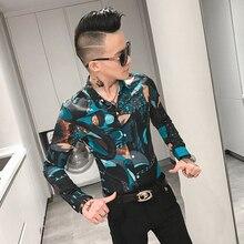 Мужская Уличная рубашка с длинным рукавом, приталенная рубашка с цветочным принтом, смокинг для ночного клуба, осень 2019