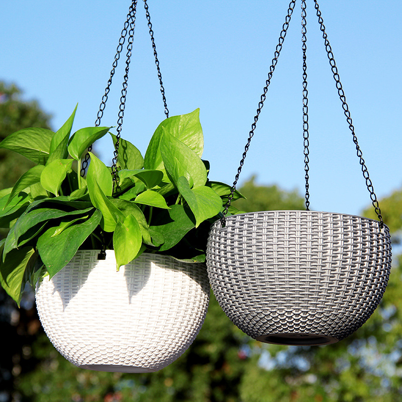Image 3 - Rattan Round Hanging Basket Self Watering Flowerpot Plastic Resin Plant Holder Container Succulent Plants Home Garden Decoration-in Flower Pots & Planters from Home & Garden