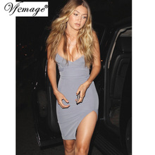 Vfemage Celebrity Sexy Deep V Lace up Asymmetric Summer Womens Girl Casual Party Club Vestido Bodycon Mini Short Slip Dress 6231