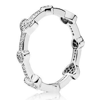 أصيلة 925 فضة حلقة مغرية قلوب مع خواتم كريستال للنساء الزفاف حزب هدية غرامة أوروبا مجوهرات