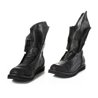 Black Flat Motorcycle Combat Boots Fashion Leather Mid Calf Cowboy Men Army Boots Round Toe Zipper Men Casual Shoes