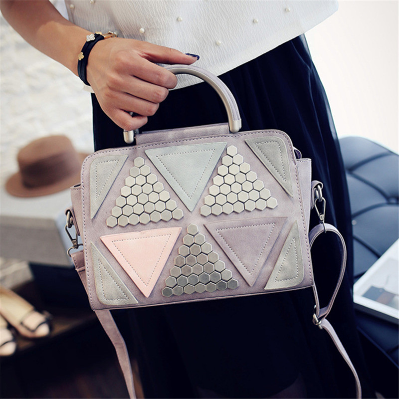 YBYT brand 2017 new patchwork casual rivet totes women shopping handbag hotsale ladies fashion shoulder messenger crossbody bags