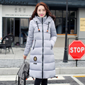 Solid Thicken Women Long Section Hooded Down Coats with Bottom Lacing Fashion Slim Thicken Warm Outcoats