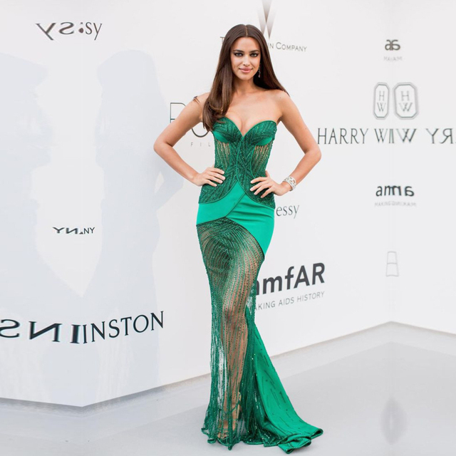 1d8eedd29c Sexy Green Mermaid Celebrity Dresses 2017 Strapless Osacr Irina Shayk Red  Carpet Dresses Gatsby Party Gown Vestidos Longo-in Celebrity-Inspired ...