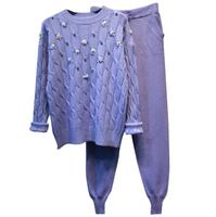 Women autumn winter Flower Beading Knit Sweater Pullovers+Pants Two pieces Sets Knit Wool Blends Trousers Sets