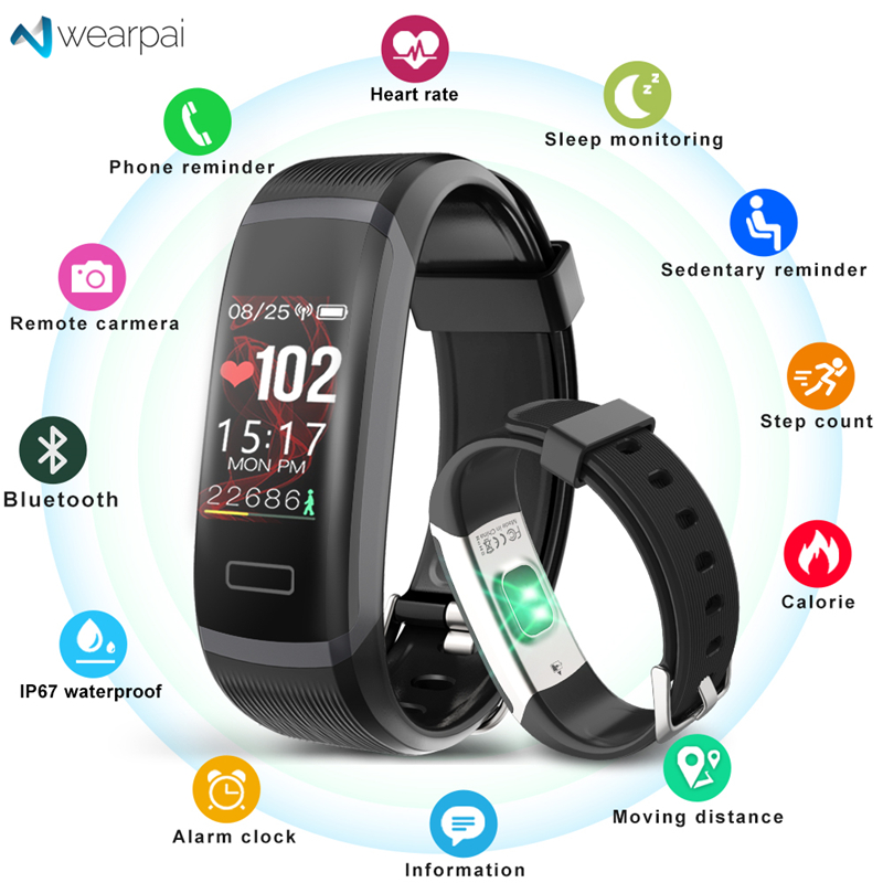 US $15 11 58% OFF|Wearpai GT101 Smart bracelet Heart rate monitor band  Fitness tracker women men Sport Smart Wristband Waterproof for ios  android-in