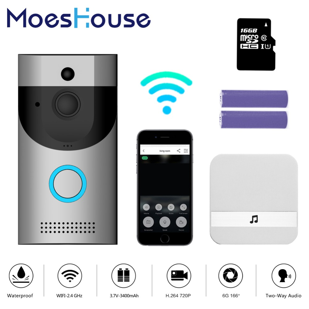 WiFi Video Doorbell Camera IP68 Waterproof 720P Real-Time Video Two-Way Talk Night Vision PIR Motion DetectionWiFi Video Doorbell Camera IP68 Waterproof 720P Real-Time Video Two-Way Talk Night Vision PIR Motion Detection