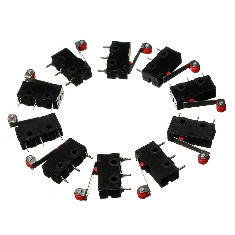 10 PCS A Set Roller Lever Arm PCB Terminals Micro Limit Normal Close/Open Switch KW12-3 5A Connectors Terminals 10pcs limit switches 3 pin n o n c 5a 125v 250vac micro switch roller lever arm pcb terminals kw12 3