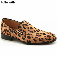 Newest Fashion Horsehair Leopard Luxury Design Men Loafers Top Quality Flats Square Heel Party Sexy Man