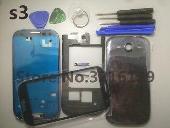 28e06ad2a04 Carcasa trasera para samsung Galaxy S3 i9300 9300i funda de batería i9300  i9305 carcasa completa de lcd con marco Frontal Medio + herramienta