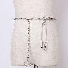 Punk Metal Wallet Chain Belt for women men Rock Trousers belts Big Silver metal pins Key Chain Jeans belt KeyChains Jewelry все цены