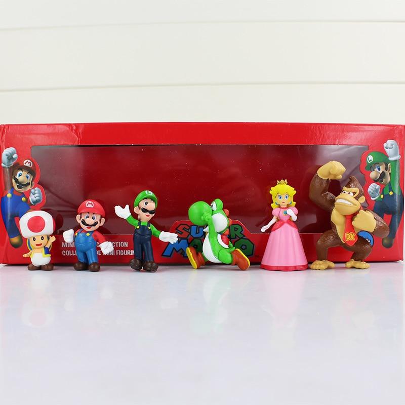 Buy 6pcs/lot 4-7cm Super Mario Figure Toy Mario Luigi Yoshi Princess Peach Toad Mushroom DK Donkey Kong Mini Model Doll for Children for only 10.2 USD