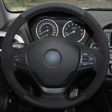 Hand sewing custom Black Leather Suede Car Steering Wheel Cover for  BMW F87 M2 F80 M3 F82 M4 M5
