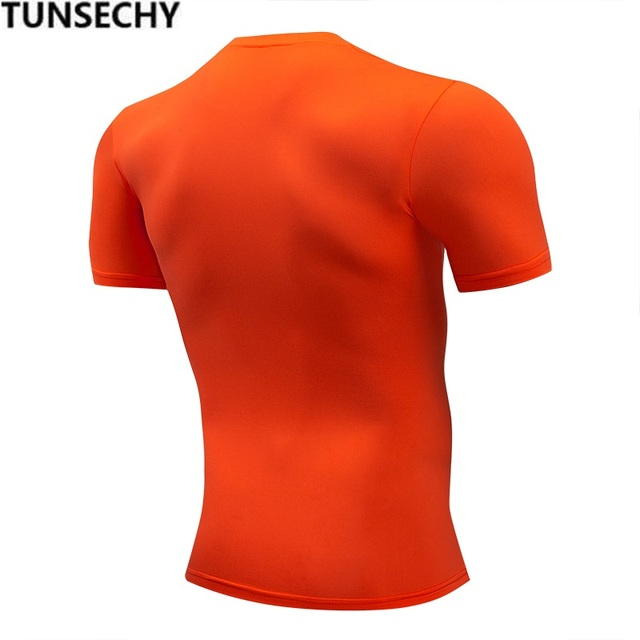 TUNSECHY Fashion pure color T-shirt Men Short Sleeve compression tight Tshirts Shirt S- 4XL Summer Clothes Free transportation 1