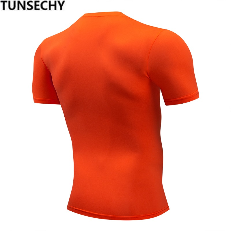 Fashion pure color T-shirt Men Short Sleeve compression tight T shirts 1