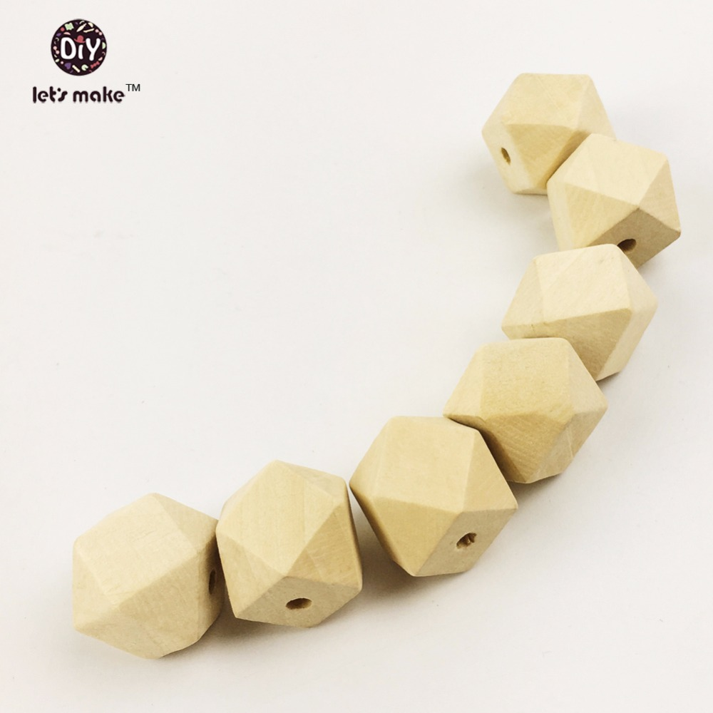 Lets Make(10-20mm)Wood Geometric Beads 200pc Wooden Teether Chew Beads Hexagon Teething Necklace DIY Accessories Baby Teether