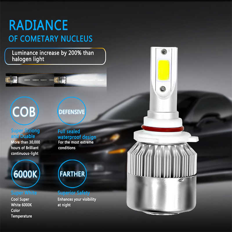 Car headlight bulbs LED H4 canbus H27/880/881 36W 6000k led fog light H11/H8/H9 9005/HB3 9006/HB4 8000LM 12V 24V 36W Rapid fan