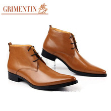 GRIMENTIN fashion vintage designer ankle boots mens shoes genuine leather solid lace-up mens pointed toe winter botas for office