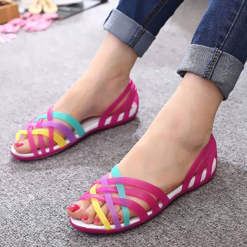 New Summer Jelly Sandals Women Flat Sandals Peep Toe Beach Shoes Rianbow Ladies Slides Candy Rainbow Flats Sandalia Feminina(China)