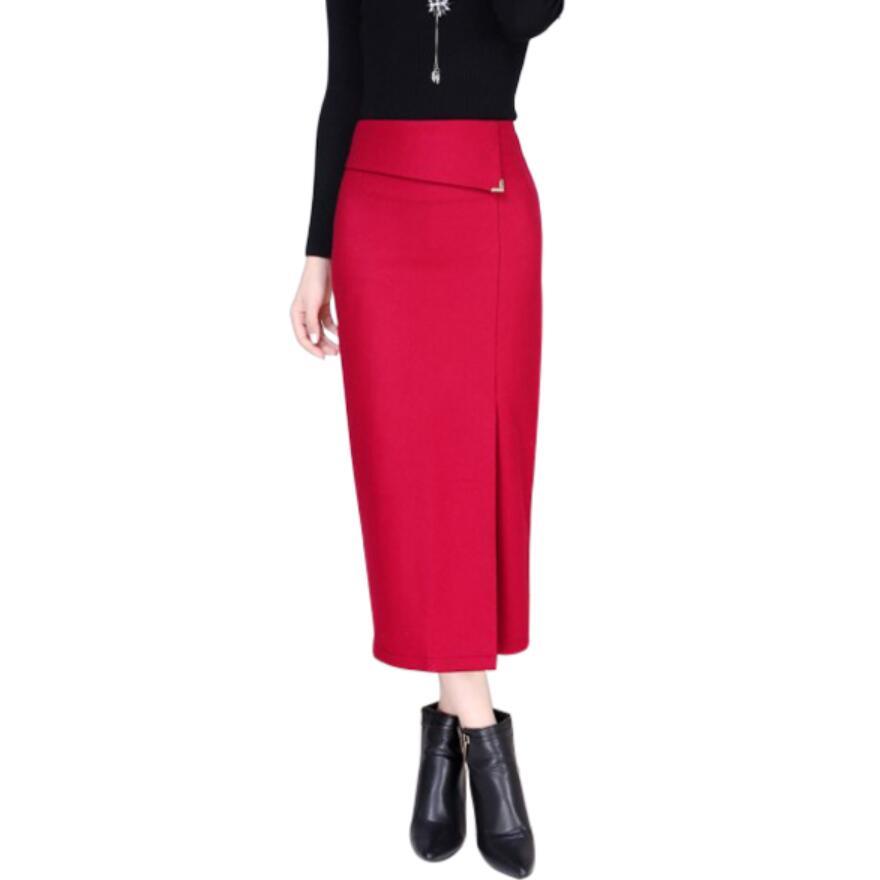 Lápiz Falda Faldas Lana Mujer Fshion Otoño rojo Ly260 borgoña Cintura Larga Más De caqui Alta Mujeres 2018 Invierno Tamaño Negro Oqf0wExf