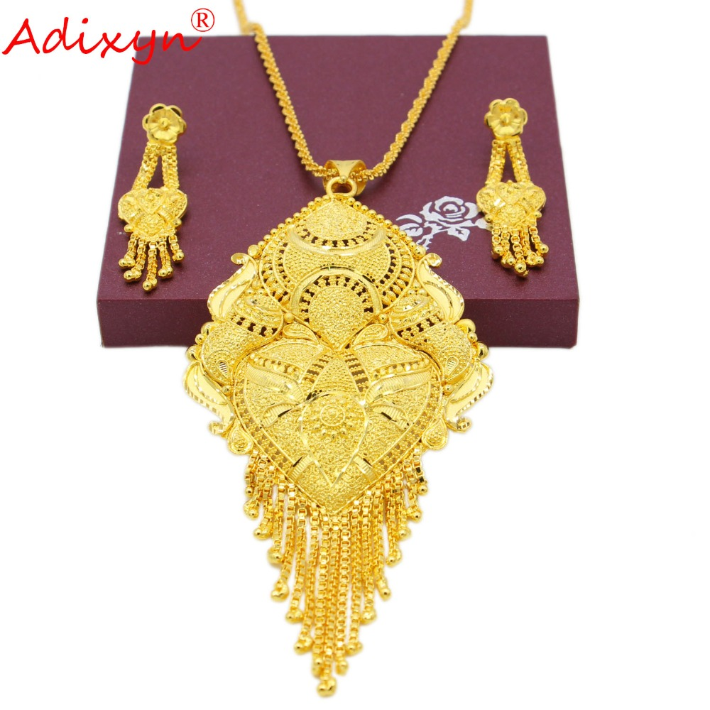 Adixyn 45cm/18inch Necklace&Earrings/Pendant Jewelry Set for Women/Girls Gold Color Exquisite Jewelry India Party Gifts N09272