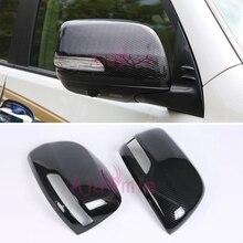 цена на Door Mirror Overlay Cover For Toyota Land Cruiser 150 Prado LC150 FJ150 2010-2018 Carbon Fiber Color ABS Car-Styling Accessory