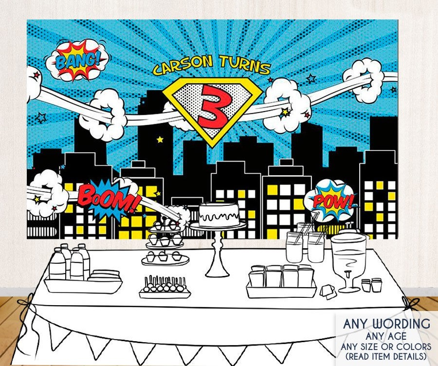 custom super hero comic theme city skyline photo studio background High quality Computer print party backdrops