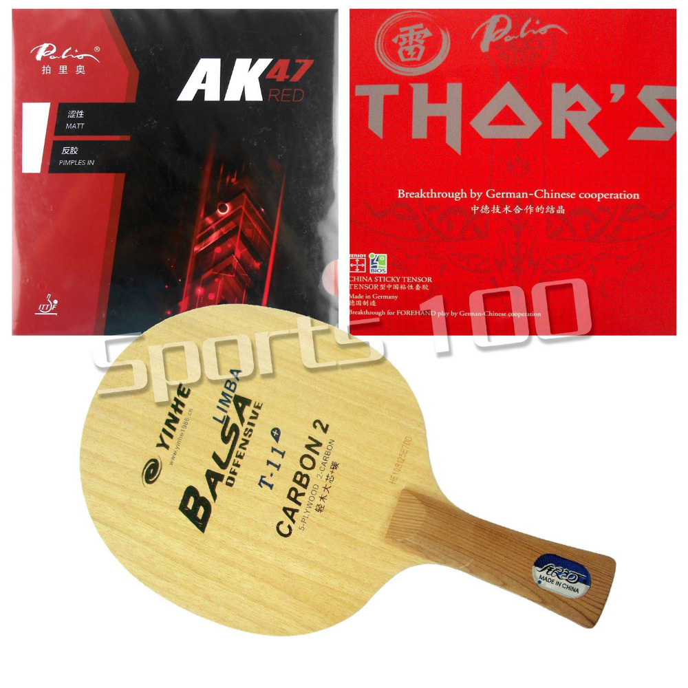 Pro Combo Racket Galaxy Yinhe T-11+ Blade Long Shakehand-FL With Palio AK47 RED and THOR'S Rubbers pro combo racket galaxy yinhe y 4 with sanwei rings link and palio hadou biotech rubbers long shakehand fl