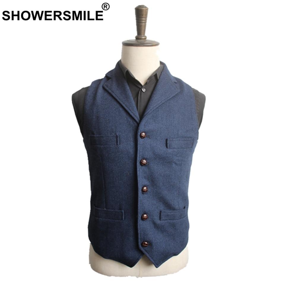 SHOWERSMILE Men's Navy Blue Suit Vest Men Wool Herringbone Tweed Jacket Vintage Autumn Woolen Slim Fit Male Waistcoat 3XL 4XL