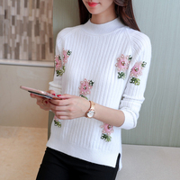 Beaded Sweater And Female Korean Version Of The New Semi Turtleneck Sweater Sleeve Head Embroidery Shirt