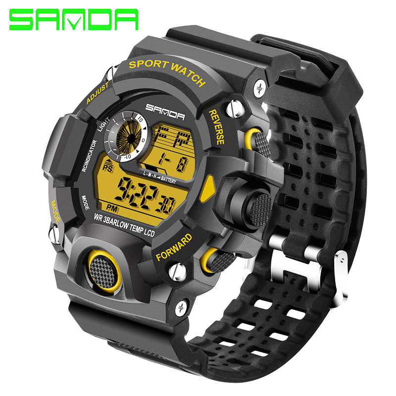 SANDA New Fashion Digital Watch Men military army Watch water resistant Calendar LED Sports Shockproof Watches relogio masculino цена и фото