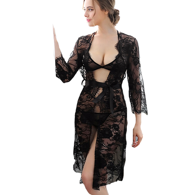 Women Robe Sets for summer spring autumn sexy lady clothes Transparent Lace Kimono Dressing Gown Intimate Sleepwear nightgown