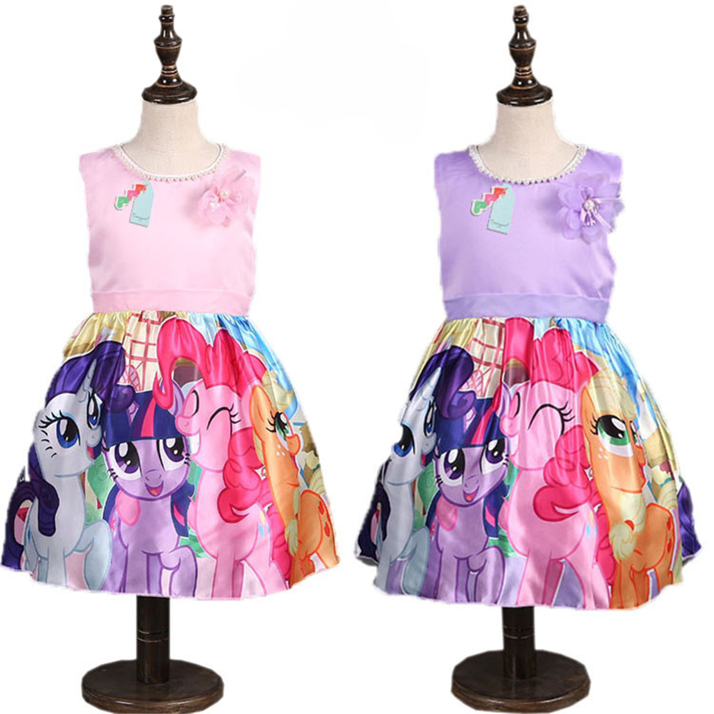 Hot Summer My Little Children Pony Clothing for Girl Print Flower Princess Dress with Pearl Fancy Kids Child Party Baptism Dress my little pony party of one
