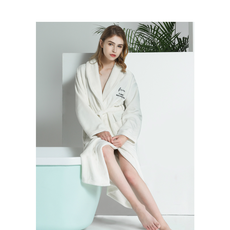 2d98883aac Men Women Autumn Winter Flannel Bathrobes Couple Nordic Style Luxury  Embroidered Robes for Male Female Home Warm Nightgown-in Robes from  Underwear ...