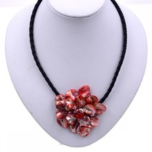 New Arrival Fashion Jewelry Crystal Pearl Mop Baroque shell flower pendant Necklace Jewelry Hot Sell(China)