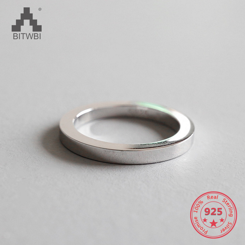 <font><b>925</b></font> <font><b>Sterling</b></font> <font><b>Silver</b></font> Jewelry Fashion Glossy <font><b>Ring</b></font> <font><b>for</b></font> Women <font><b>Men</b></font> Couples Simple Wedding <font><b>Rings</b></font> Bague Femme image