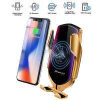 Capteur infrarouge automatique rapide Qi sans fil charge 360 degrés Rotation voiture support pour téléphone évent support pour IPhone Samsung