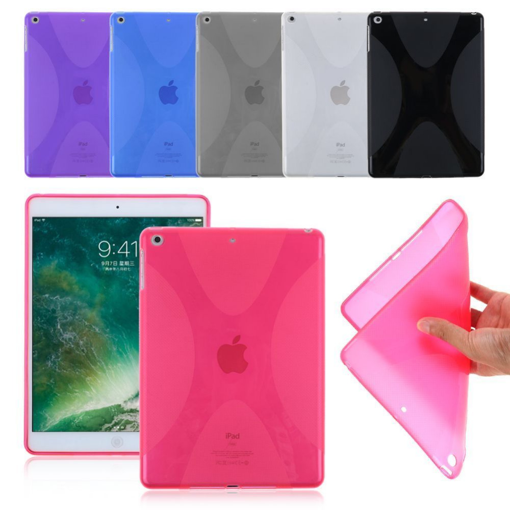 New Anti-skid Matte X Line Soft Silicone Rubber TPU Gel Skin Cover Protector Back Case For Apple iPad 9.7 2017 Generation Tablet
