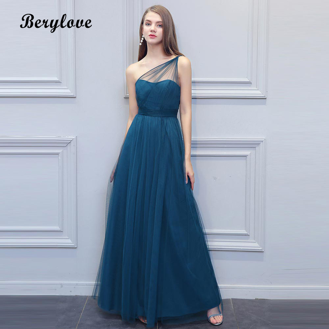 bdfc46312376 BeryLove Long One Shoulder Evening Dresses Simple Teal Tulle Prom Dresses  2018 Women Formal Dress Special Occasion Gowns