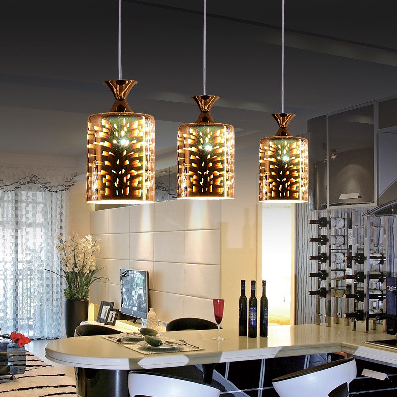 Modern Minimalist Glass Dining Room Living Bedroom 3D Creative LED Pendant Lamp Energy Saving And Environmental Protection In Lights From