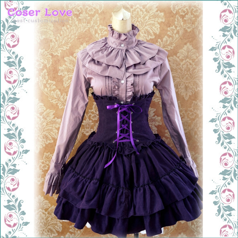 Robe Lolita gothique SK lavande taille haute, jupe Lolita à lacets volants!