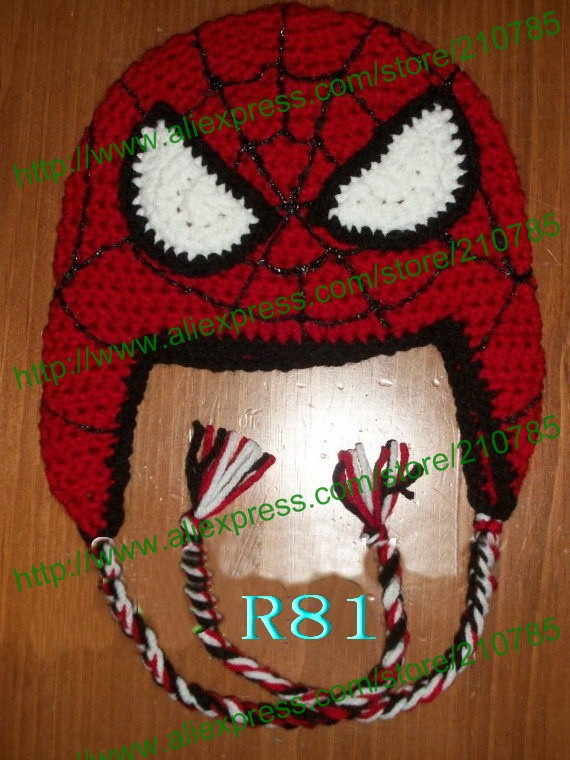 Free shipping Kids crochet Beanie Hat Baby Spider-Man Hat Winter Gift,Children Handmade Knitting Beanie Hat