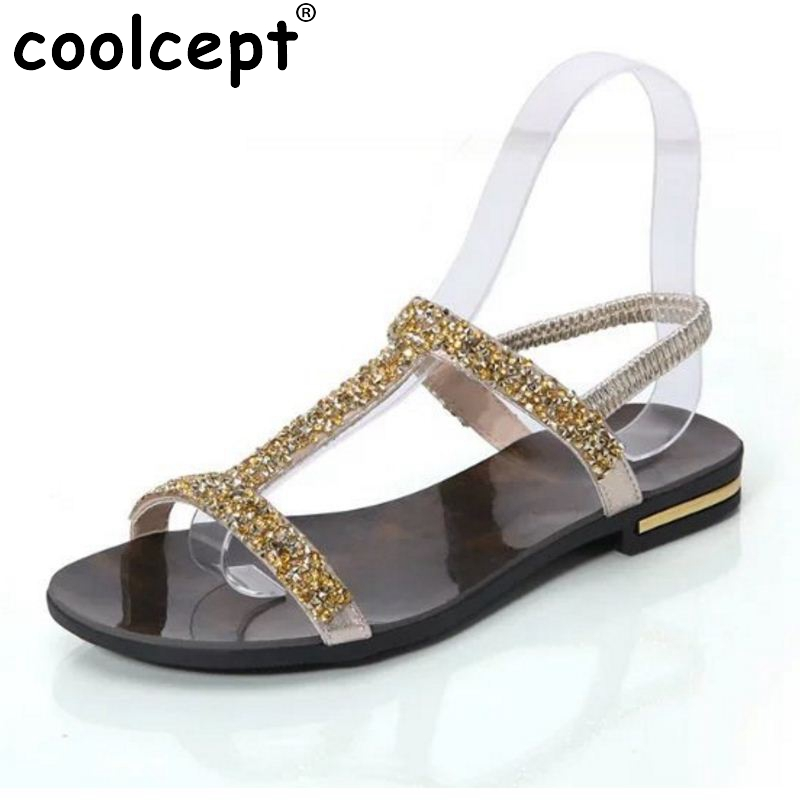 Summer New Arrived Women Sandals Rhinestone Flats Sample Sweet Slip On Leisure Shoes Ladies Fashion Sandal Footwear Size 35-39 шлепанцы hurley sample phantom sandals rifle