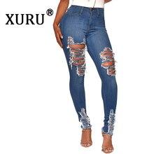 дешево!  XURU 2019 осень новые женские горячие продажи отверстие мыть джинсы сексуальные брюки ноги карандаш