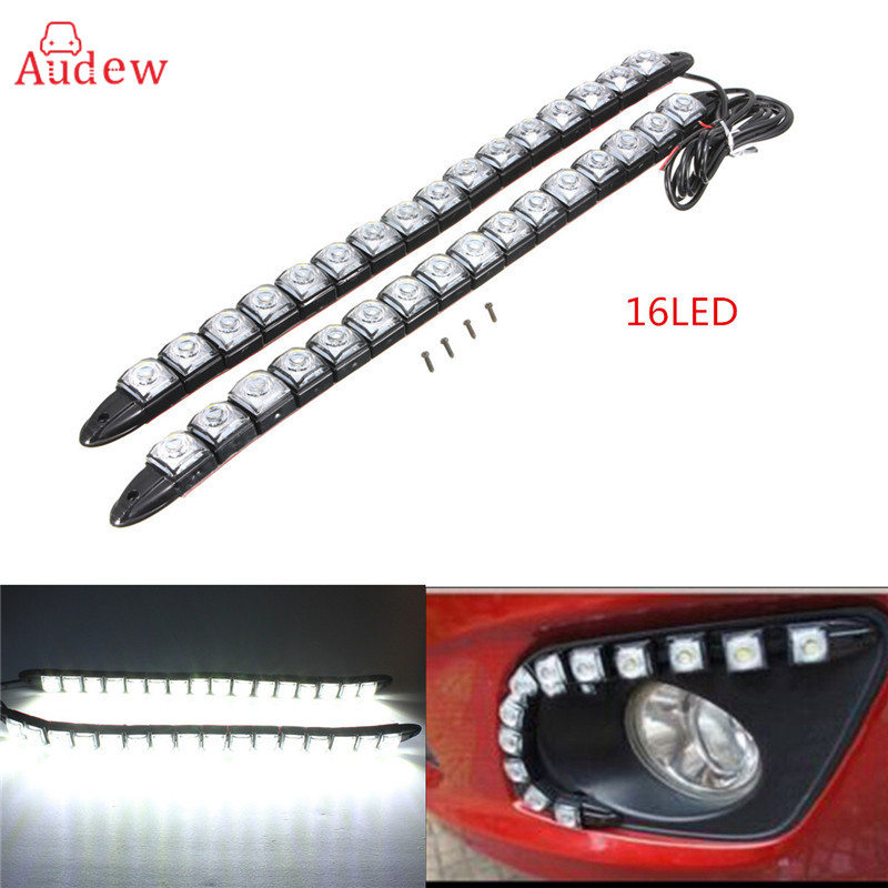 18/22/24/33/34/38CM Car LED Strip DRL Daytime Running Light Driving Turn Singal Fog Lamp DC 12V Super White universal 6 8 9 12 14 16 led super white waterproof flexible drl daytime running light driving fog warning lamp dc 12v