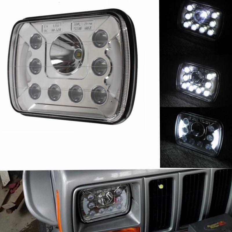 For Jeep Wrangler YJ Cherokee XJ Trucks 4X4 Offroad with Angel Eyes DRL 6''x7'' 5x7 inch High Low Beam Led Headlights (Pair) 5 x7 6 x7 high low beam led headlights for jeep wrangler yj cherokee xj h6054 h5054 h6054ll 69822 6052 6053 with angel eye