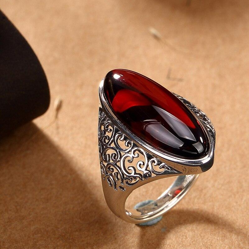 Offre spéciale 100% réel 925 en argent Sterling bague Vintage pour les femmes à la main en pierre naturelle anneau bijoux fins pour cadeau d'anniversaire AJ - 6