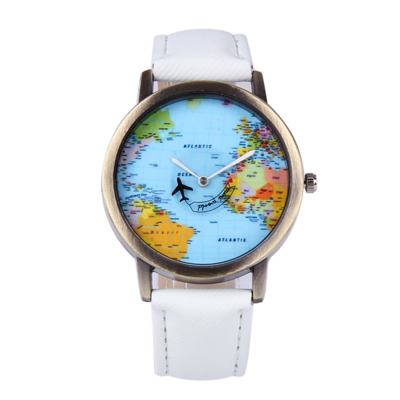 Fashion Travel Watch Women Plane and Map Denim Fabric Band Clock 7Colors horloges vrouwen relogio mapa