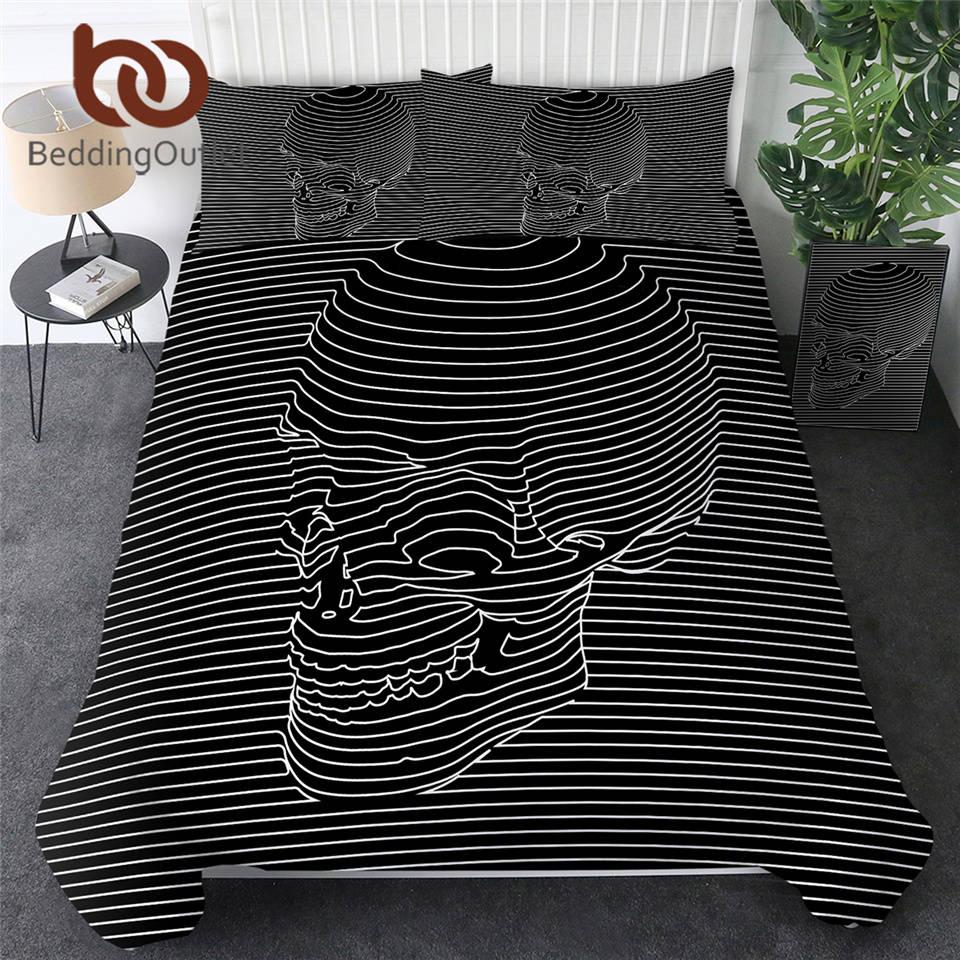 BeddingOutlet Skull Comforter Cover for Adult Stripes