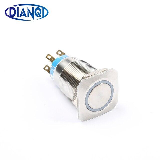 19mm metalowy mosiądz przełącznik wciskany płaskie kwadratowe oświetlenie pierścień zatrzaskowy 1NO 1NC samochód naciśnij przycisk pin terminal 19fHX. S